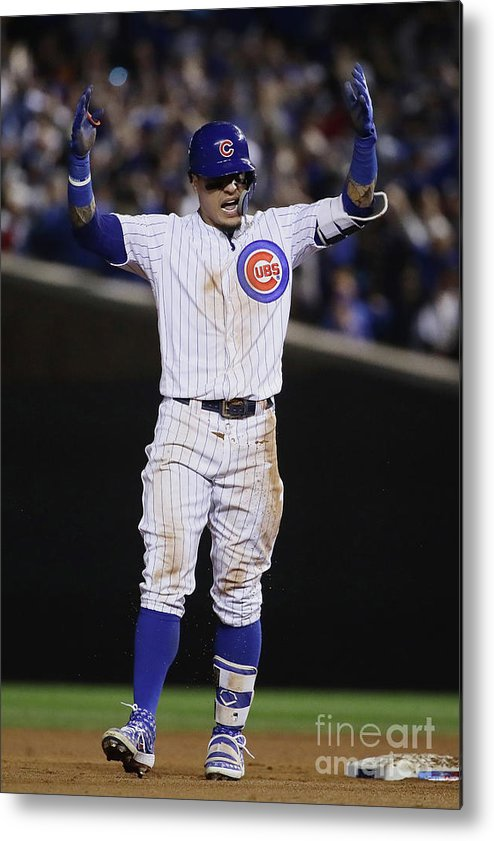 Playoffs Metal Print featuring the photograph Terrance Gore And Javier Baez by Jonathan Daniel