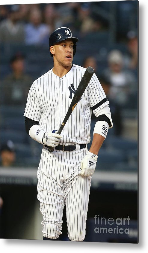 Three Quarter Length Metal Print featuring the photograph Aaron Judge by Mike Stobe