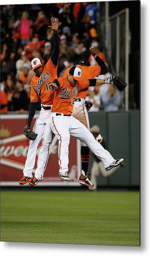 Following Metal Print featuring the photograph Alejandro De Aza, Steve Pearce, And Adam Jones by Rob Carr