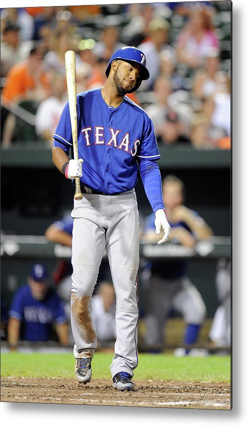 American League Baseball Metal Print featuring the photograph Elvis Andrus by Greg Fiume