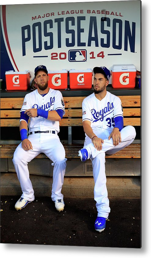 American League Baseball Metal Print featuring the photograph Eric Hosmer And Alex Gordon by Jamie Squire