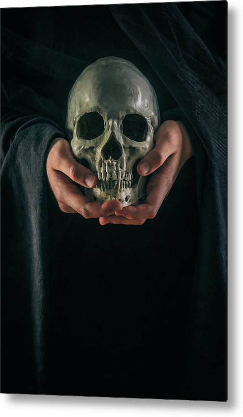 Hands Metal Print featuring the photograph Hands Holding Skull by Carlos Caetano