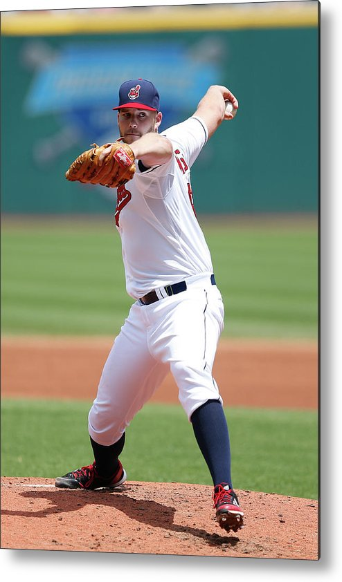 American League Baseball Metal Print featuring the photograph Justin Masterson by Joe Robbins