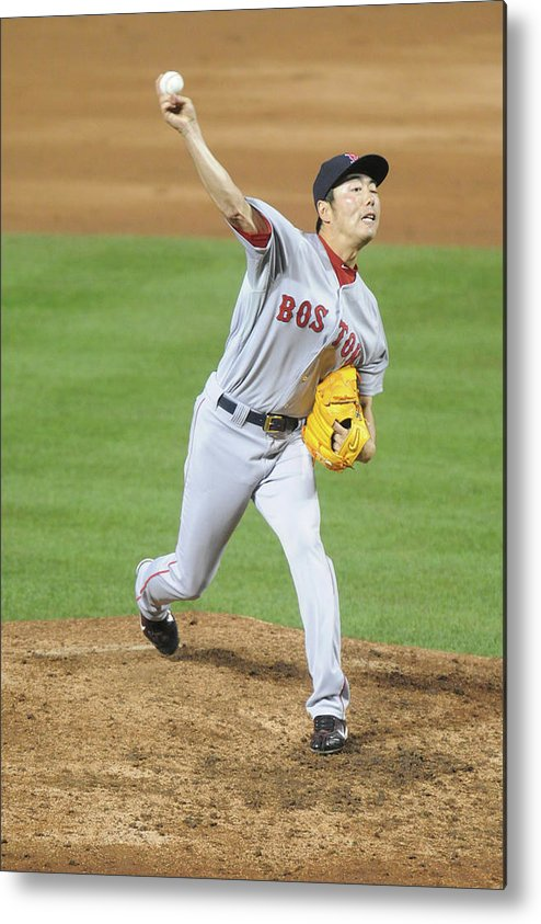 Ninth Inning Metal Print featuring the photograph Koji Uehara by Mitchell Layton