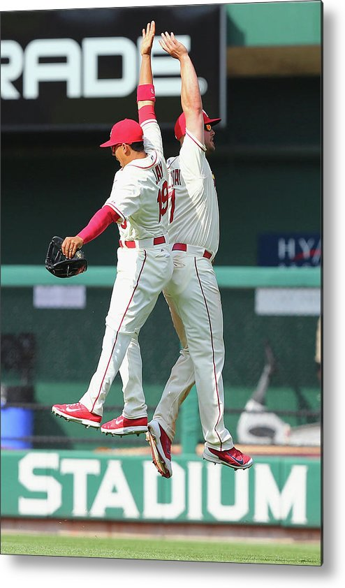 St. Louis Cardinals Metal Print featuring the photograph Matt Holliday And Jon Jay by Dilip Vishwanat