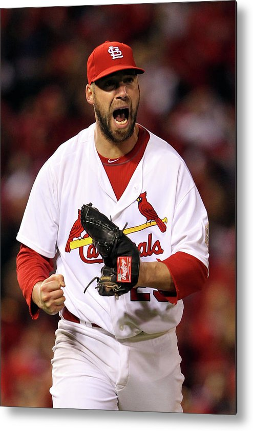 St. Louis Cardinals Metal Print featuring the photograph Michael Young And Chris Carpenter by Jamie Squire