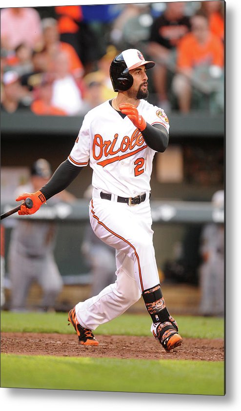 American League Baseball Metal Print featuring the photograph Nick Markakis by Mitchell Layton