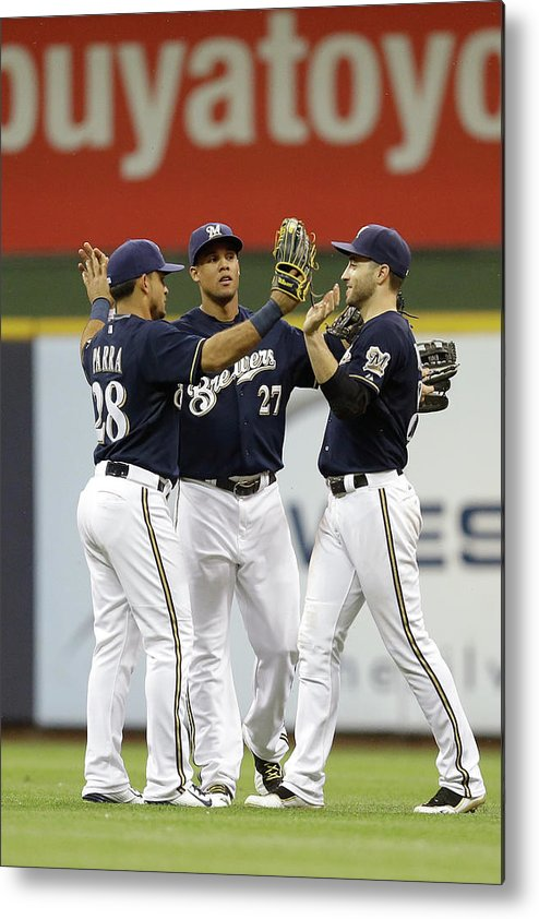 People Metal Print featuring the photograph Ryan Braun, Gerardo Parra, And Carlos Gomez by Mike Mcginnis