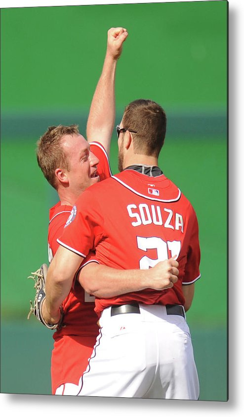 Celebration Metal Print featuring the photograph Steven Souza And Jordan Zimmermann by Mitchell Layton