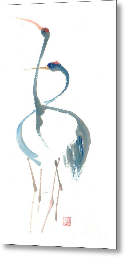 A Pair Of Cranes Dancing Metal Print featuring the painting Duet by Mui-Joo Wee