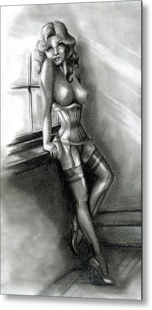 Figure Metal Print featuring the drawing Moonlight by Scarlett Royal