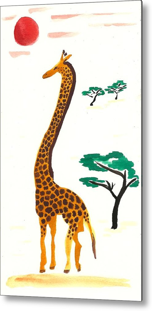 Giraffe Metal Print featuring the painting My Masai by Sara Burns