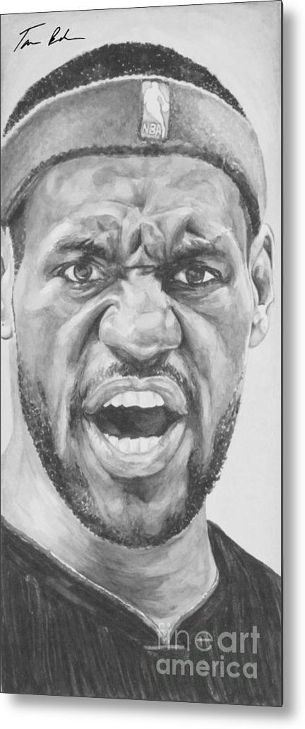 Lebron Metal Print featuring the painting Intensity Lebron James by Tamir Barkan