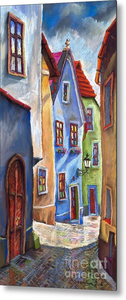 Cityscape Metal Print featuring the painting Cesky Krumlov Old Street by Yuriy Shevchuk