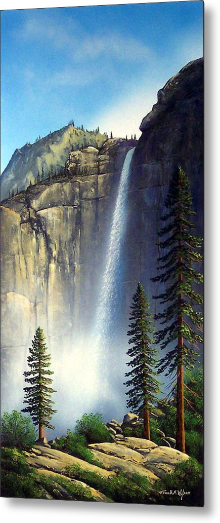 Landscape Metal Print featuring the painting Majestic Falls by Frank Wilson