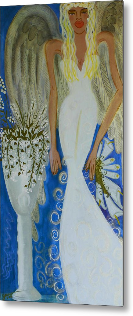 Angel Artwork Metal Print featuring the painting Peace And Love Angel by Helen Gerro