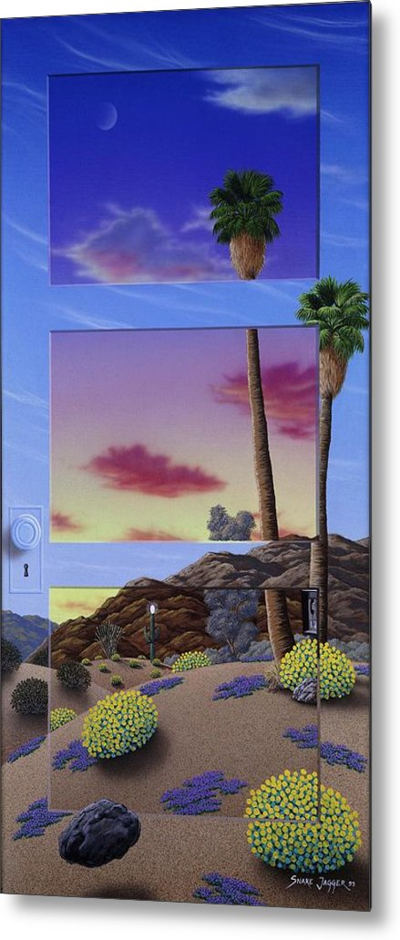 Landscape Metal Print featuring the painting Sunset Door by Snake Jagger
