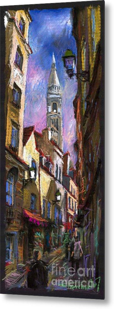 Pastel Metal Print featuring the painting Paris Montmartre by Yuriy Shevchuk