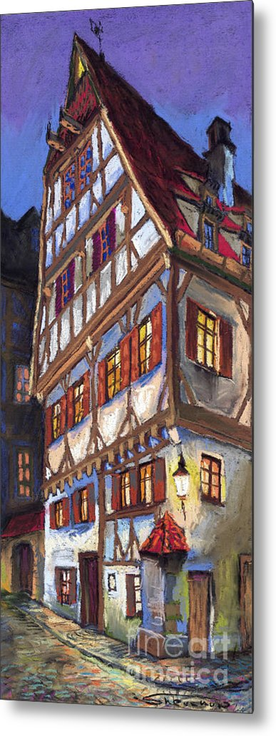 Pastel Metal Print featuring the painting Germany Ulm Old Street by Yuriy Shevchuk