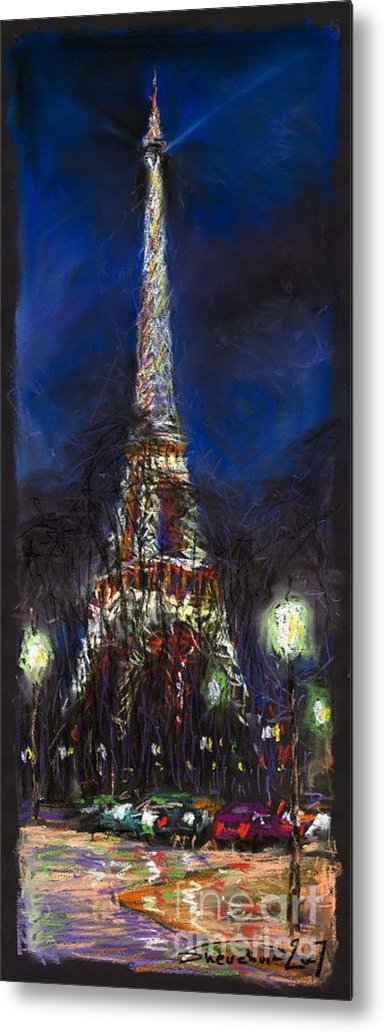 Pastel Metal Print featuring the painting Paris Tour Eiffel by Yuriy Shevchuk