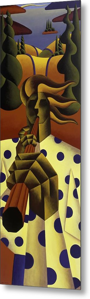 Landscape Metal Print featuring the painting The Whistle Player by Alan Kenny