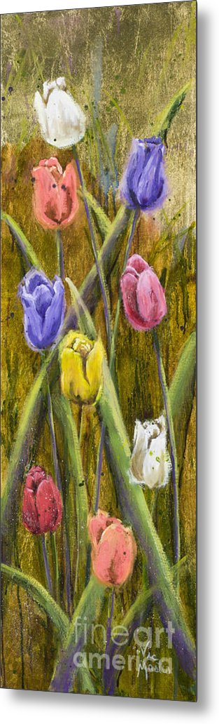 Tulip Metal Print featuring the painting Splashy Tulips by Vic Mastis