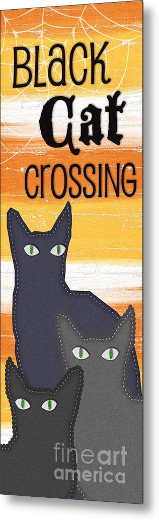 Cat Metal Print featuring the painting Black Cat Crossing by Linda Woods