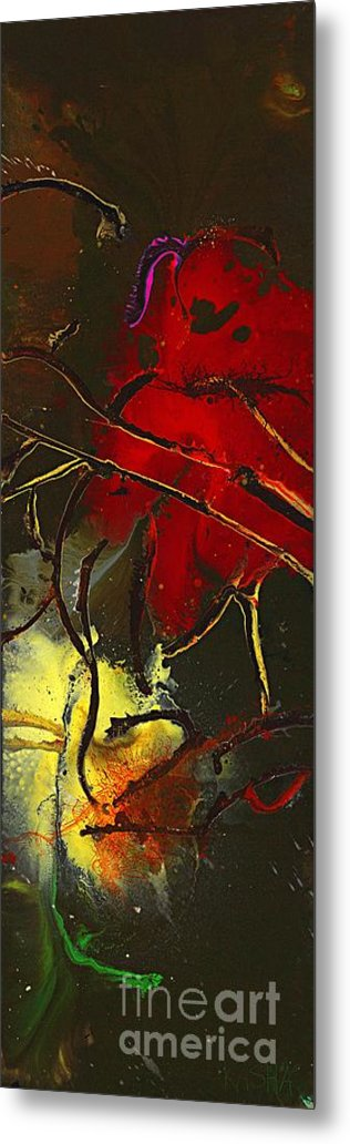 Red Metal Print featuring the painting Fall Decor by Kasha Ritter