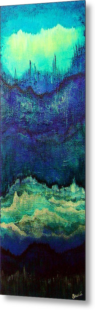 Blue Metal Print featuring the painting For Linda by Shadia Derbyshire