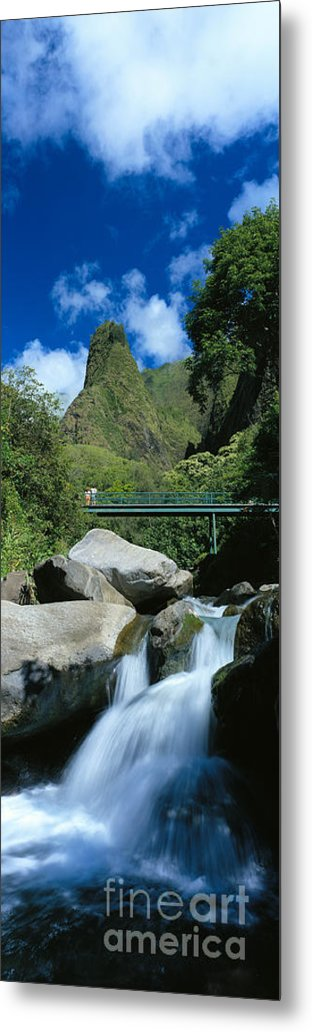 Blue Metal Print featuring the photograph Iao Needle And Creek by Carl Shaneff - Printscapes