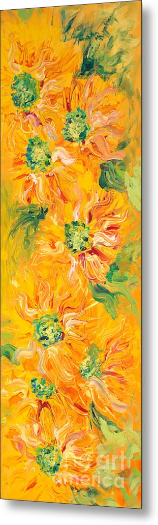 Yellow Metal Print featuring the painting Textured Yellow Sunflowers by Nadine Rippelmeyer