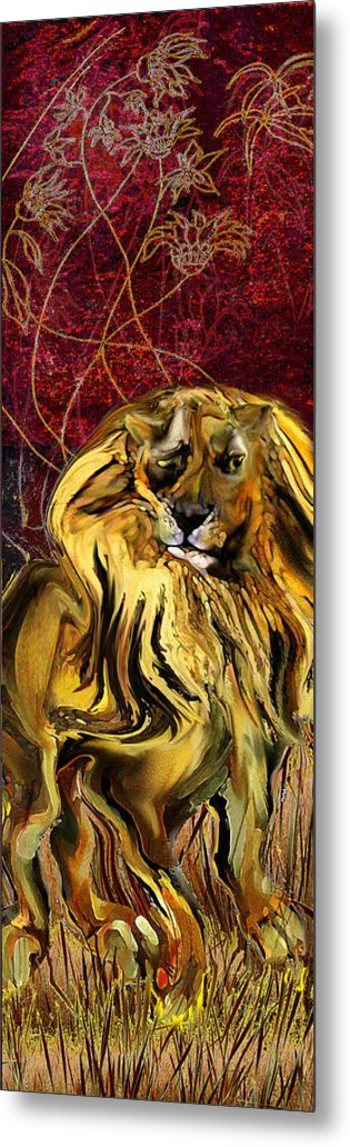 Lion Metal Print featuring the painting The Squinting Lion by Anne Weirich