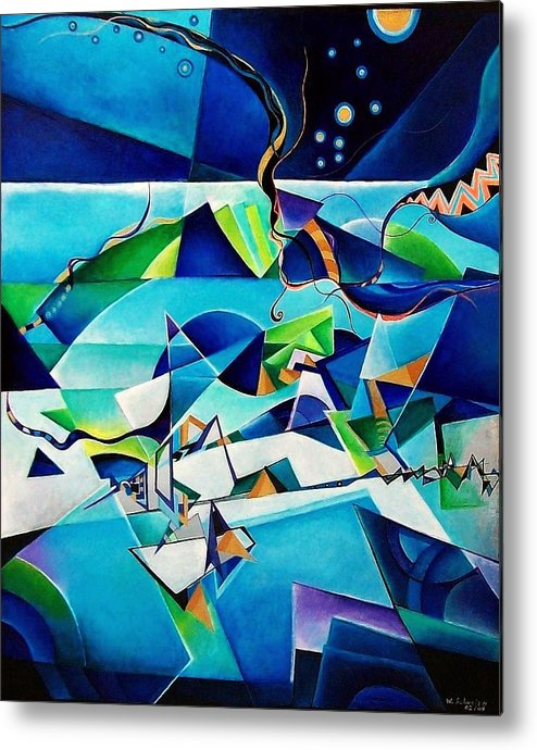 Landscpae Abstract Acrylic Wood Pens Metal Print featuring the painting Landscape by Wolfgang Schweizer