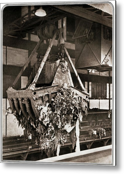 Black And White Metal Print featuring the photograph 1920s Waste Treatment by Cci Archives