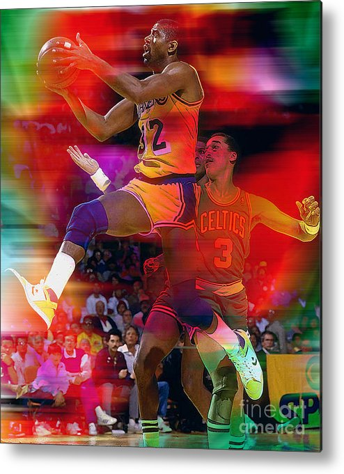 Magic Johnson Paintings Metal Print featuring the mixed media Magic Johnson by Marvin Blaine