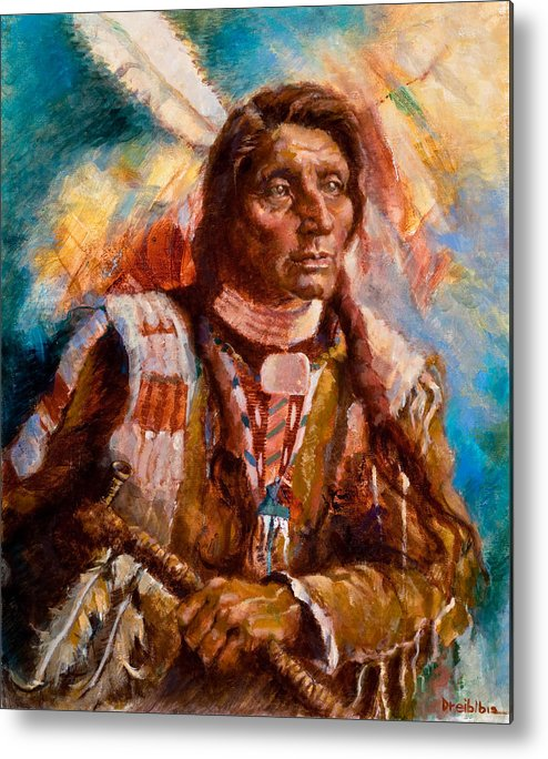 Native American Metal Print featuring the painting A Man Of Peace by Ellen Dreibelbis
