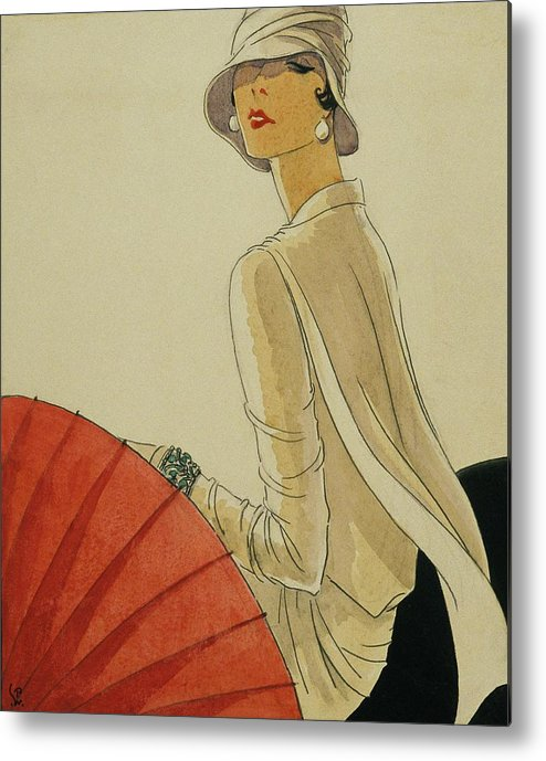 Illustration Metal Print featuring the digital art A Woman Sitting Wearing A White Jacket And Pearl by Porter Woodruff