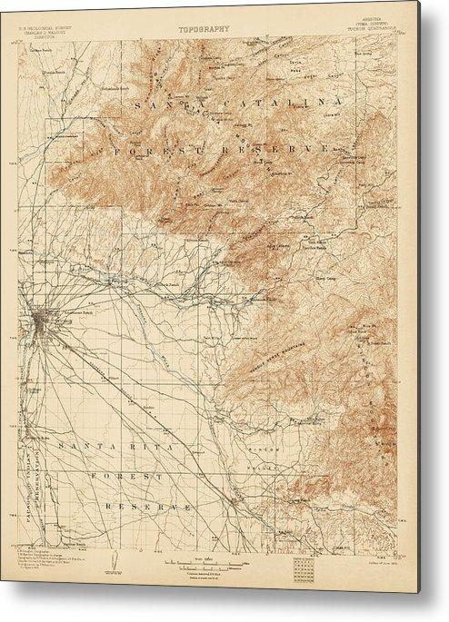 Antique Map Of Tucson Arizona - Usgs Topographic Map - 1905 Metal ...