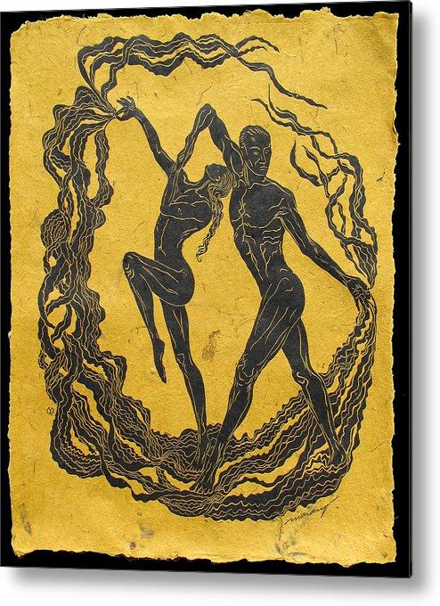 Dancer Metal Print featuring the relief Baile Del Sol by Maria Arango Diener