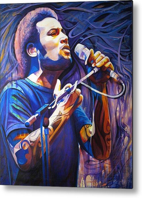 Ben Harper Metal Print featuring the painting Ben Harper And Mic by Joshua Morton