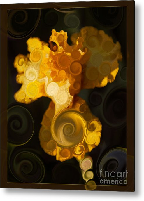 Bright Yellow Bearded Iris Flower Abstract Metal Print featuring the painting Bright Yellow Bearded Iris Flower Abstract by Omaste Witkowski