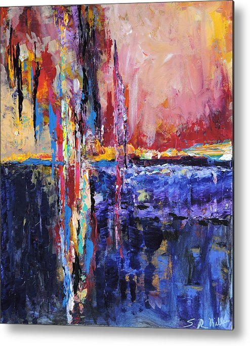 Abstract Metal Print featuring the painting City By The Sea 1 by Sara Miller