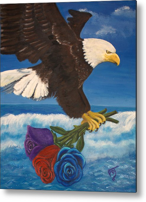 Eagle Metal Print featuring the painting Courted By The Godhead by Pamorama Jones