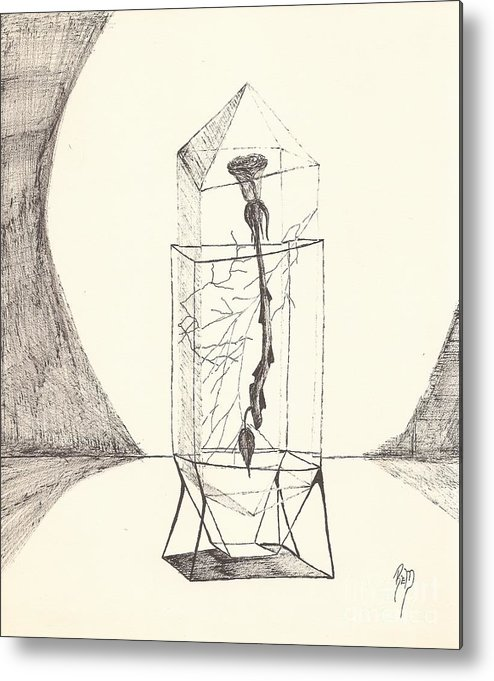 Pen And Ink Metal Print featuring the drawing Cracked... Sketch by Robert Meszaros