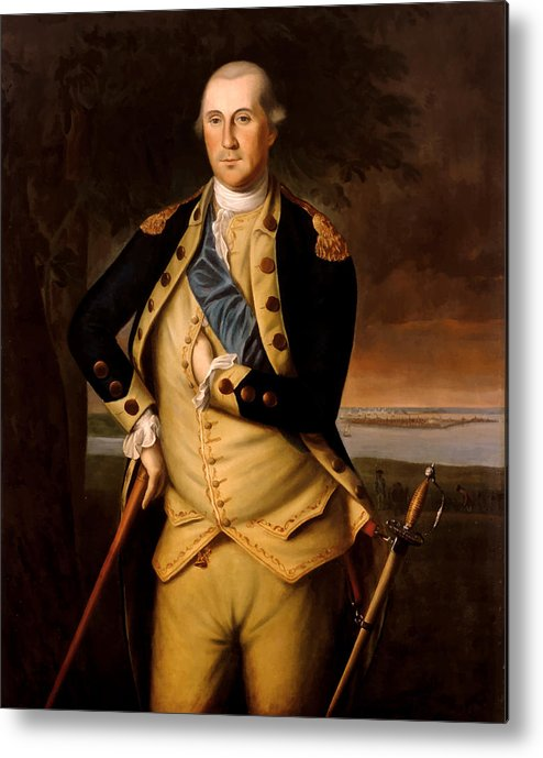 George Washington Metal Print featuring the painting General George Washington by War Is Hell Store