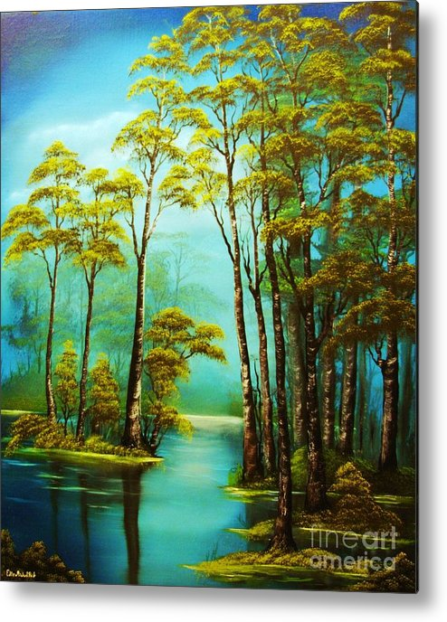 Hazy Metal Print featuring the painting Hazy Reflections-original Sold- Buy Giclee Print Nr 34 Of Limited Edition Of 40 Prints by Eddie Michael Beck