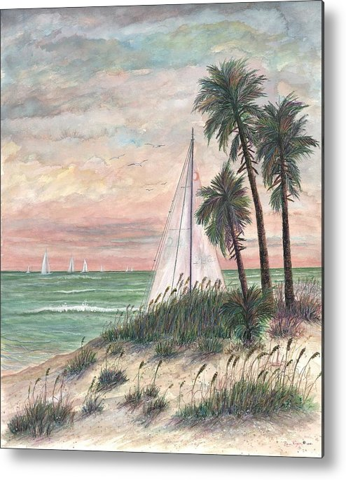 Sailboats; Palm Trees; Ocean; Beach; Sunset Metal Print featuring the painting Hideaway by Ben Kiger