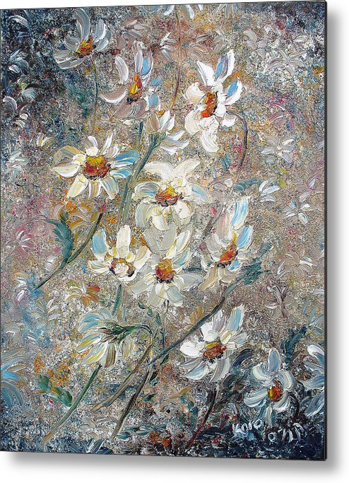 Daisies Painting Abstract Flower Painting Botanical Painting Bloom Greeting Card Painting Metal Print featuring the painting Just Dasies by Karin Dawn Kelshall- Best