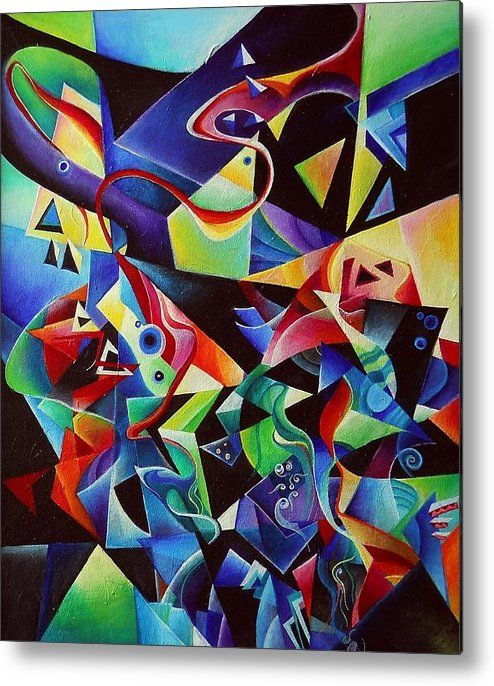 Arnold Schoenberg Piano Concert No.1 Acrylic Abstract Pens Music Metal Print featuring the painting listening to piano concert op.42 of Arnold Schoenberg by Wolfgang Schweizer