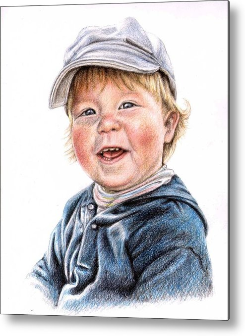 Boy Metal Print featuring the drawing Little Boy by Nicole Zeug